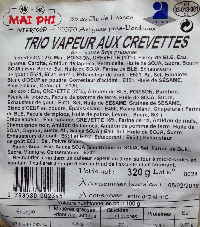 Trio vapeur aux crevettes - Product