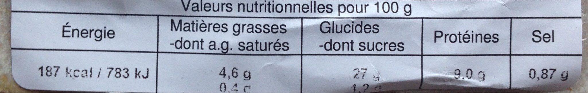 Trio vapeur aux crevettes - Voedingswaarden