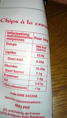 Mai phi - Nutrition facts - fr