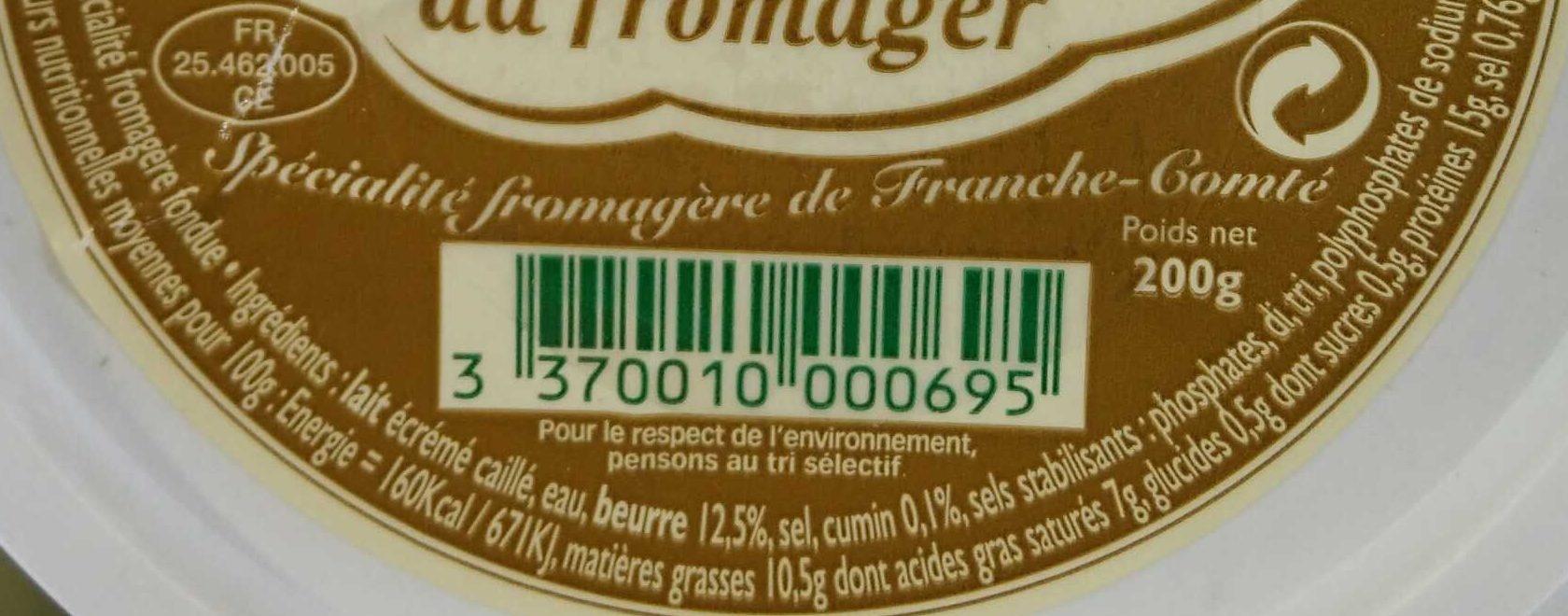 Cancoillotte du Fromager au Cumin 200g - Informations nutritionnelles - fr