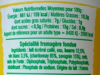 Cancoillotte vin blanc Chardonnay - Nutrition facts - fr