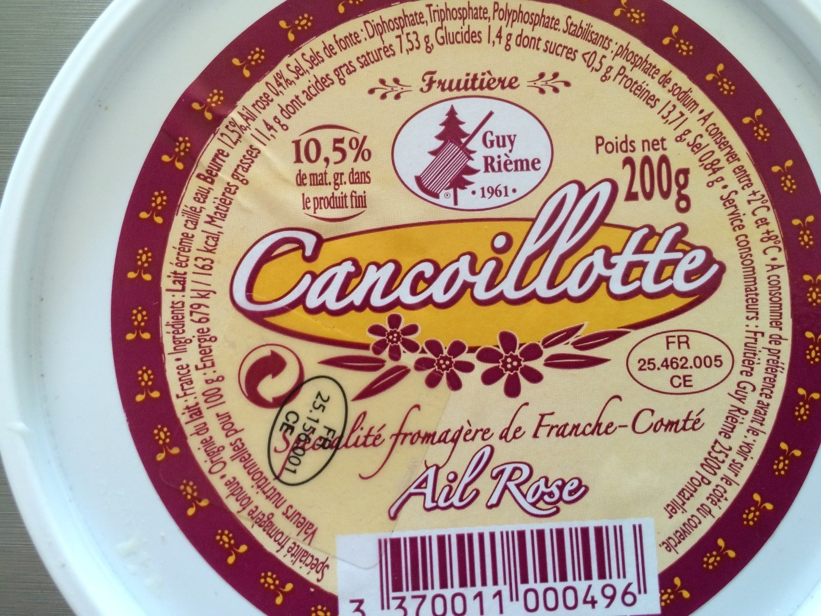 Cancoillotte ail rose - Ingredients - fr