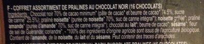 Assortiment de chocolats noirs pralinés - Ingrédients - fr