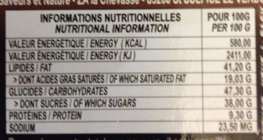 Assortiment de chocolats noirs pralinés - Informations nutritionnelles - fr
