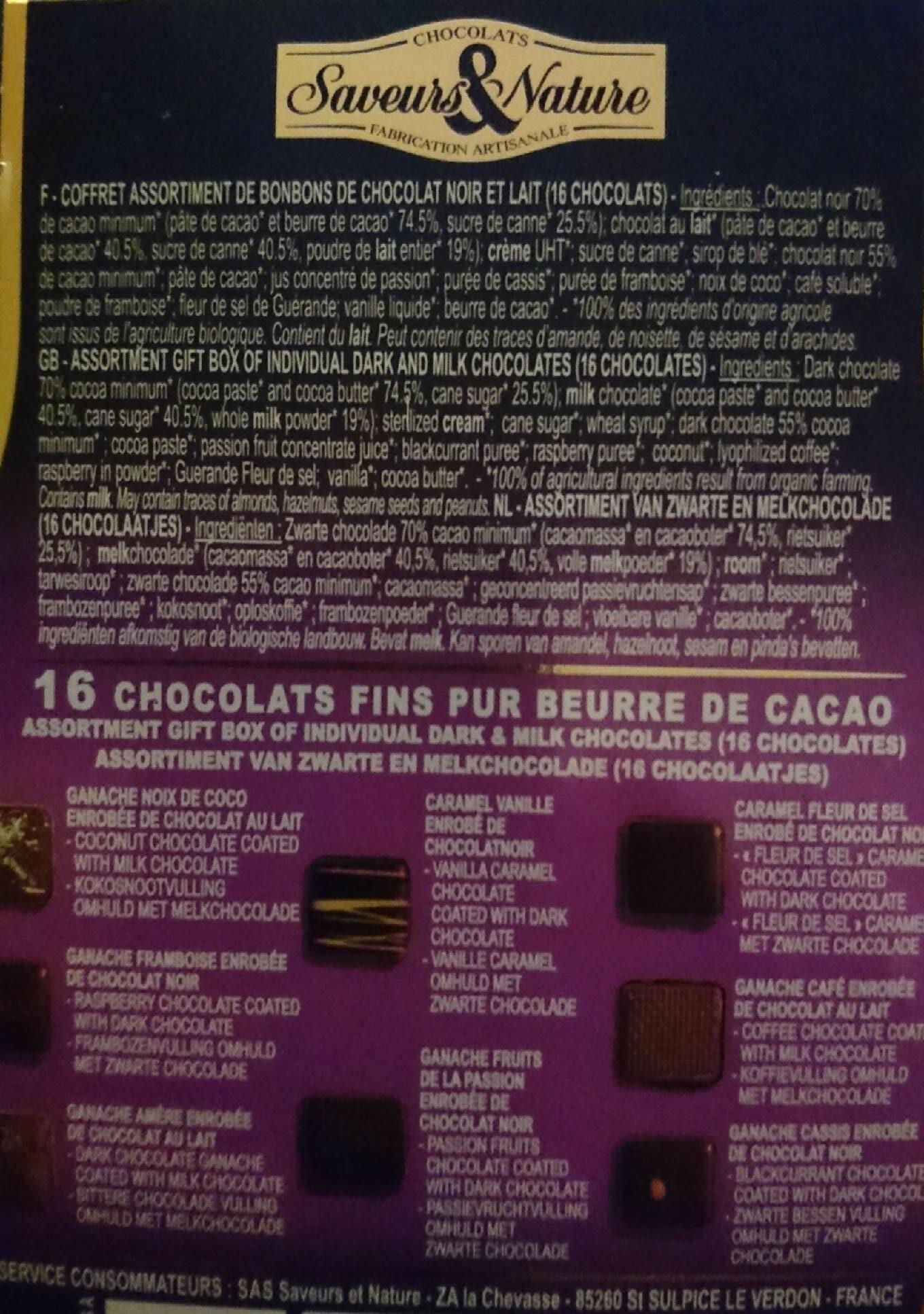 Chocolats noirs et au lait - Voedingswaarden