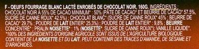 Œufs Fondants et Croustillants Enrobés de Chocolat Noir - Ingrédients
