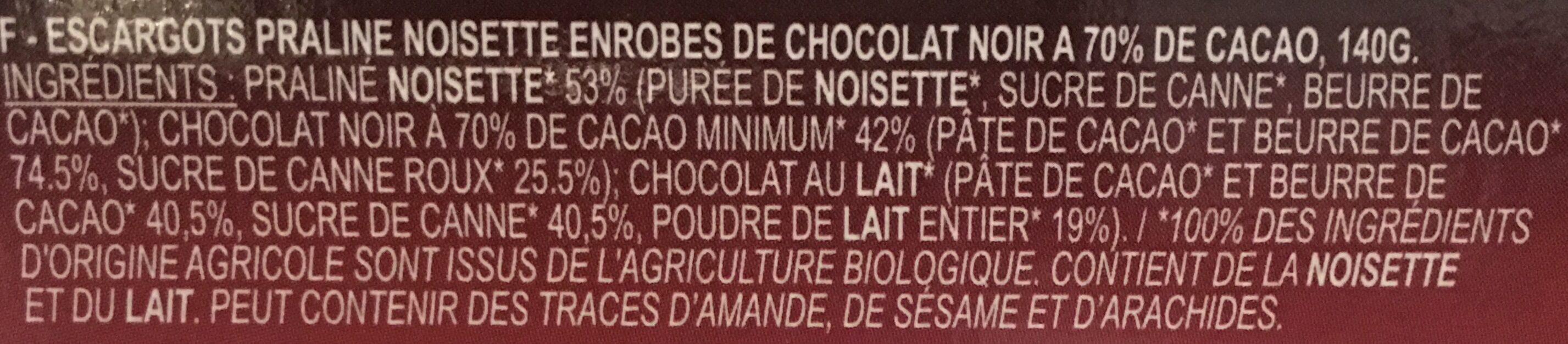 Ballotin Escargot Choc Noir - Ingrédients - fr