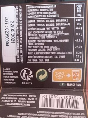 Ballotin Escargot Choc Noir - Voedingswaarden - fr