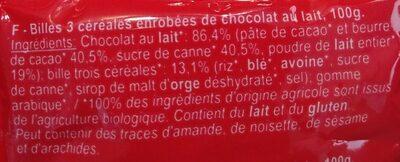 Drole De Billes Cereales Choc Lait - Ingrédients