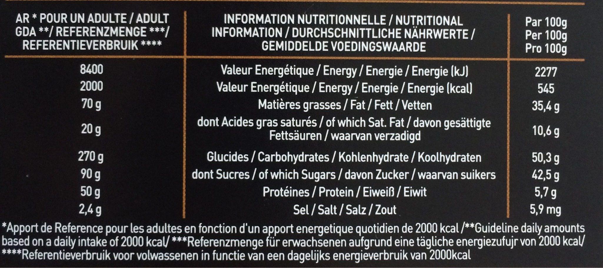 Praline noisette - Voedingswaarden - fr
