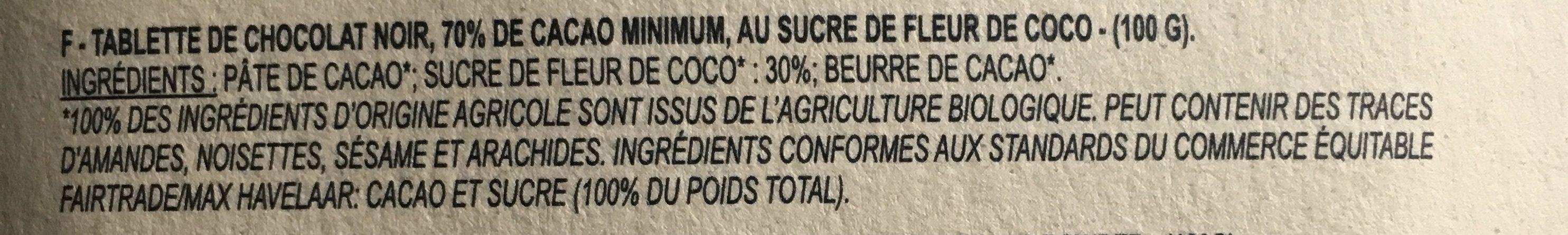 Epicerie / Epicerie Sucrée / Chocolat Bio - Ingredients - fr