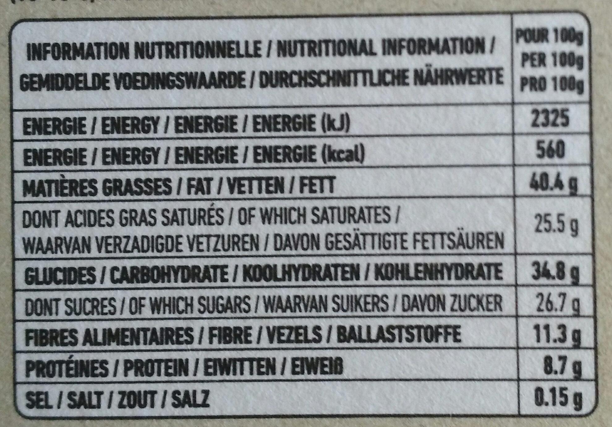 Epicerie / Epicerie Sucrée / Chocolat Bio - Nutrition facts - fr