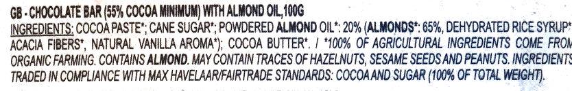 Dark chocolate almond milk - Ingredientes - en