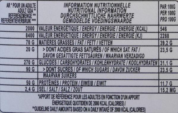 Dark chocolate almond milk - Información nutricional - en