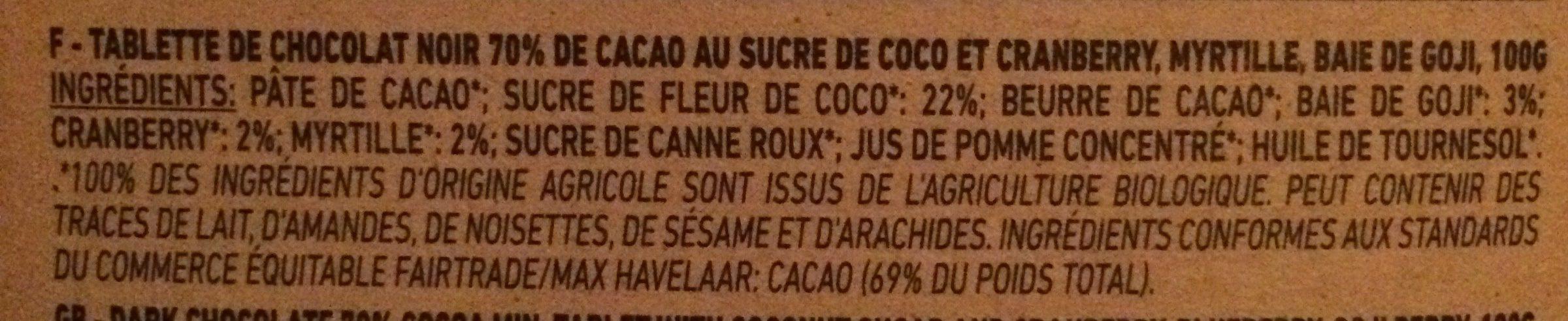 Chocolat Noir 70% Superfruit (100 GR) - Ingrédients
