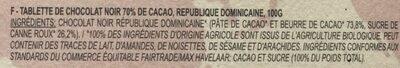 TABLETTE CHOCOLAT NOIR 70% CACAO - Ingrédients - fr