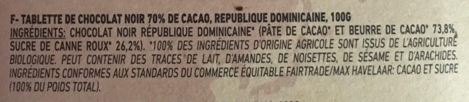 Chocolat artisanal - Ingredienti - fr