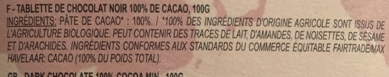 La belle équitable - 100% Cacao noir - Ingredienti - fr