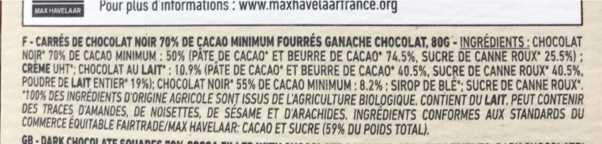 Chocolat noir 70% - Ingredients - fr