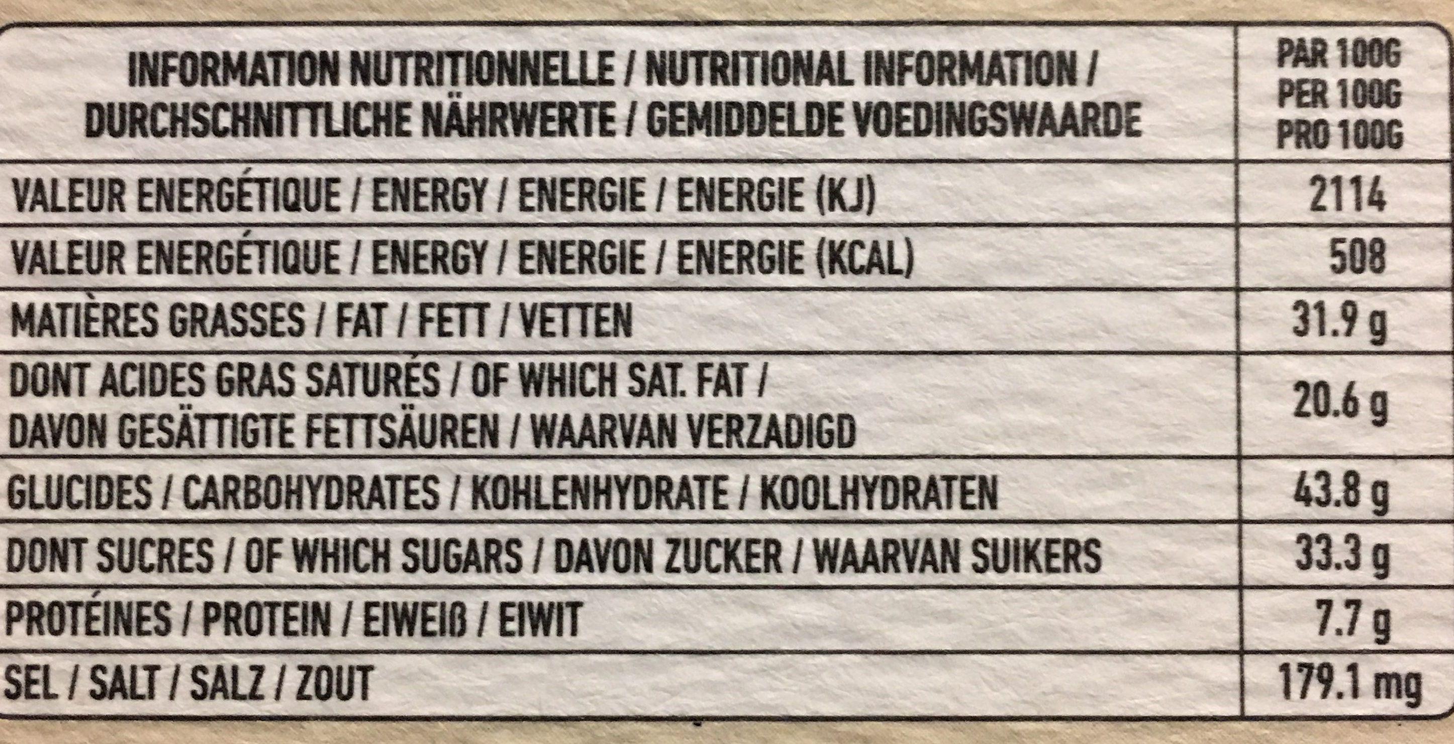 Chocolat noir 70% - Nutrition facts - fr