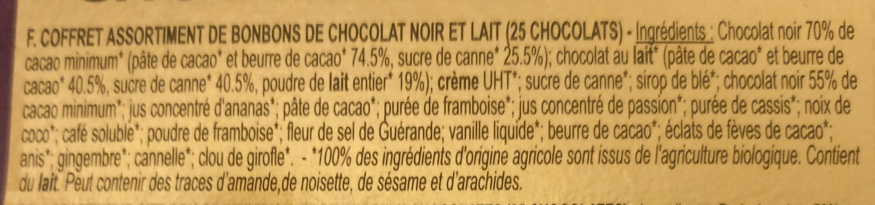 Assortiment chocolat noir et au lait - Ingredients