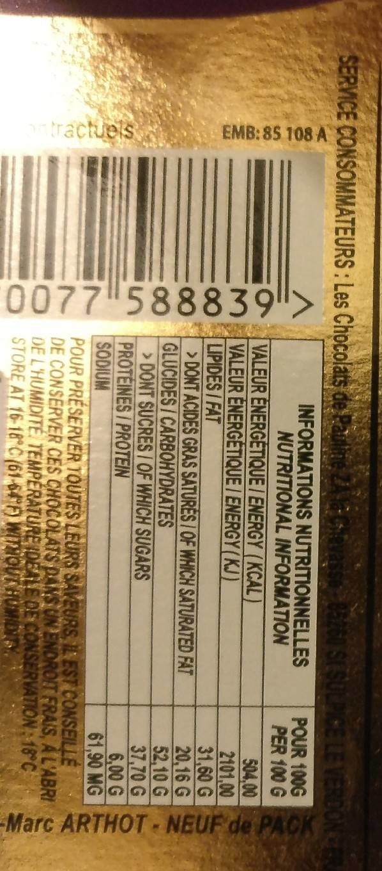 Assortiment chocolat noir et au lait - Informations nutritionnelles