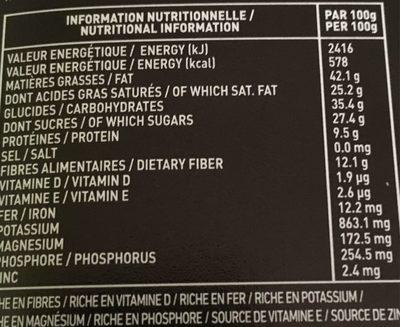 Pure Origine 70% de cacao minimum - Informations nutritionnelles - fr