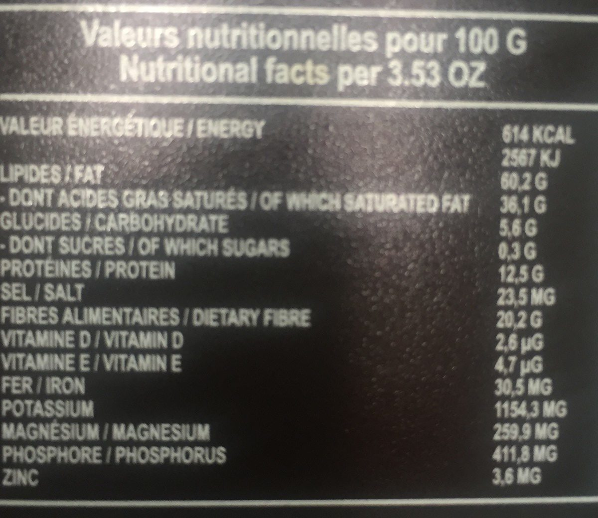Tablette chocolat 100% cacao - Nutrition facts - fr