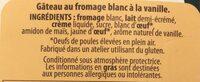 Le Saint Amour Gâteau au fromage blanc Vanille - Ingredients - fr
