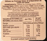 Gâteau au fromage blanc - Nutrition facts