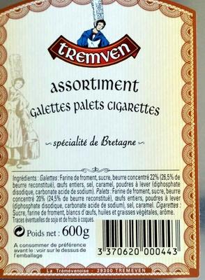 Assortiment Galettes Palets Cigares - Informations nutritionnelles