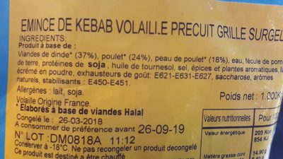 Émincé kebbab - Ingrediënten