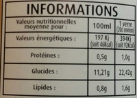 Jus de pomme cerise - Voedingswaarden - fr
