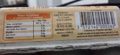 6 Oeufs frais de la Martinique - Ingrédients