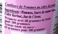 Confiture de pommes au cidre - Ingredients - fr