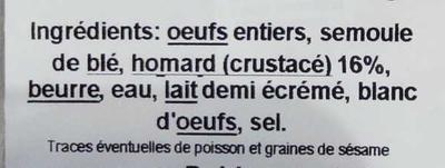 Quenelles lyonnaises de homard - Ingrédients