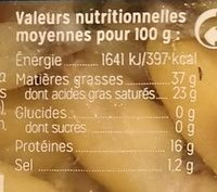 Cuisses de grenouilles au beurre persillé - Informations nutritionnelles - fr