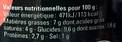 Sauce Nantua aux écrevisses - Informations nutritionnelles - fr