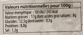 Quenelles lyonnaises cachere - Nutrition facts