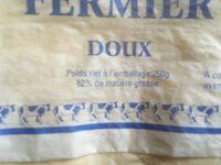 Beurre cru fermier doux - Ingrédients - fr