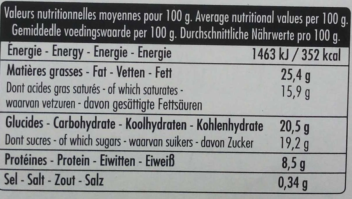 Mousse au chocolat - Informations nutritionnelles - fr