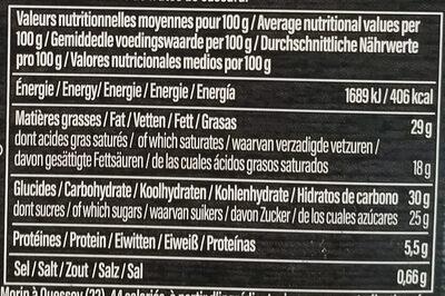 Moelleux chocolat noir - Informations nutritionnelles - fr