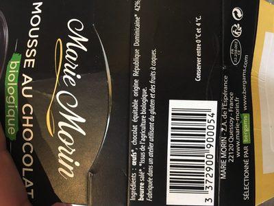 Mousse Au Chocolat Noir Bio - Ingredients - fr