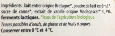 Yaourt vanille bio - Ingrediënten