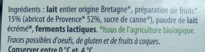 Yaourt abricot bio - Ingredients - fr