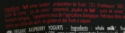 Yaourts brassés bio framboise - Ingredients - fr