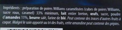 Amandine aux Poires caramélisées - Ingrédients - fr
