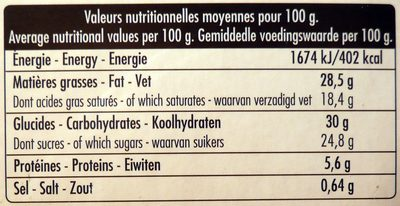 Moelleux Chocolat - Nutrition facts