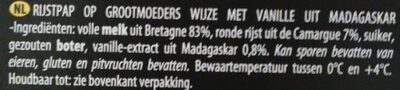 Riz Au Lait Vanille De Madagascar - Ingrediënten