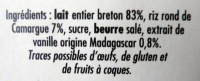 Riz au lait à la vanille de Madasgascar - Ingrediënten